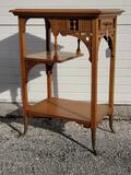 Antique Golden Oak Victorian East Lake Style Tiered Table