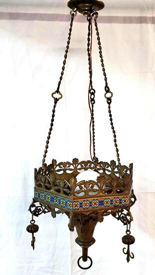 1887 French Gilt Bronze & Enamel Pendant Hanging Lamp