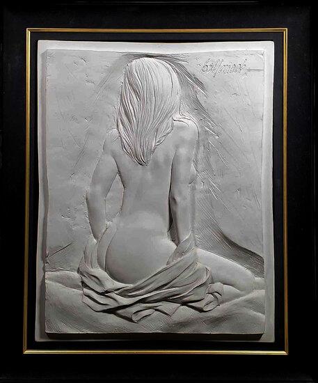 "Bill Mack ""Allure"" Alto Relief Plaque of Female Nude on White Ground"