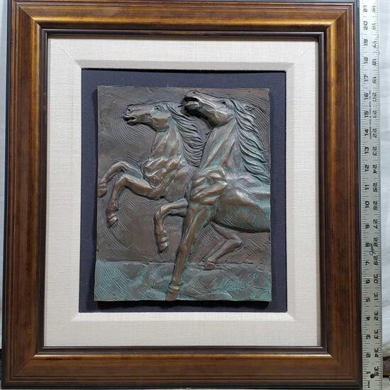 """Bill Mack """"Competition"""" Relief Plaque of Horses in Bronzed Finish"""