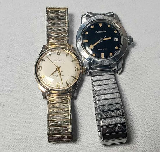 Lot Of 2 Self Winding Wrist Watches, Helbros & Paul Le Grande'