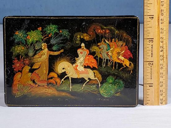 """6"""" x 4"""" Russian Lacquerware Box Signed and Numbered with Mythic Cavalry Scene"""