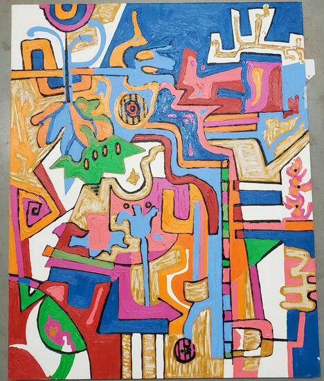 """Phyllis Trager Hyman (1936-2011) Acrylic On Canvas 2004 Beach Sky"""""""