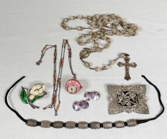 Collection of Antique & Vintage Fine Sterling Jewelry