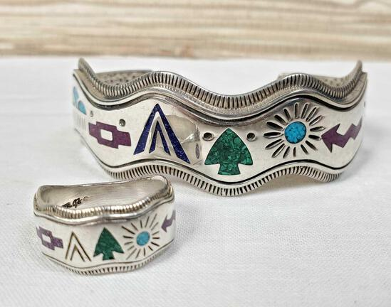 Native American Sterling Cuff Bracelet & Ring Set by Carlisle Jewelry Co.