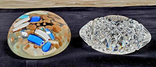 2 Art Glass Paperweights incl. Buccaneers Super Bowl Football