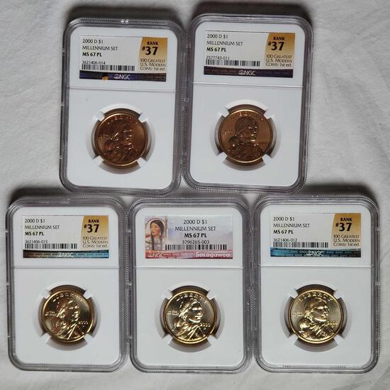 5 2000-D NGC Millennium Set MS 67 PL Sacagawea Dollar Coins