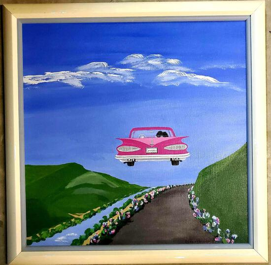 Elsa de Bruycker Oil on Canvas Panting of 59 CHEVY IMPALA Flying in to the distance