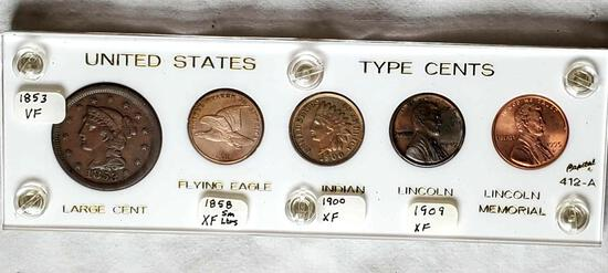 United States Type Cents Display 1853, 1858, 1900, 1909 and 1995-D