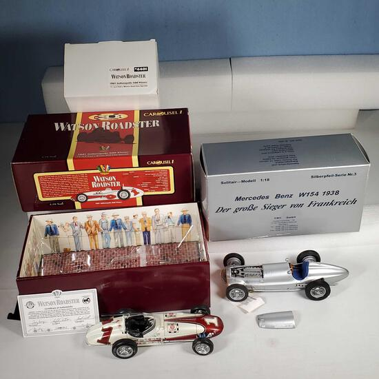 2 1/18 Scale Diecast Cars - Carousel 1 AJ Foyt 1961 Watson Roadster & CMC 1938 Mercedes-Benz W-154