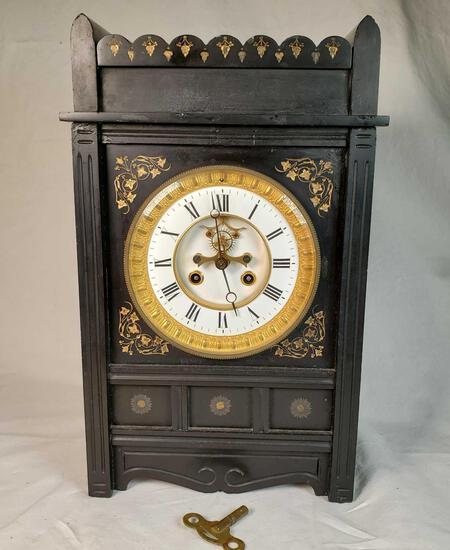French Open Escapement Black Slate Cased Mantle Clock