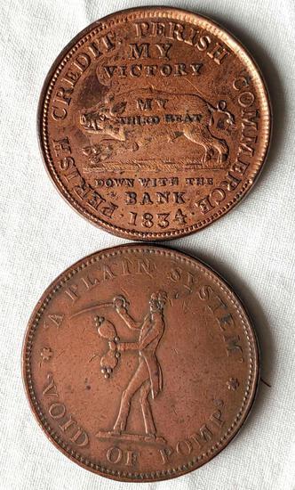 2 1834 Hard Time Tokens - Boar Front, Jackson Reverse, Jackson Front/ Donkey Reverse