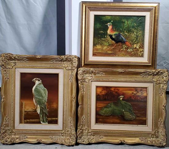 3 Anna Kerekes Hungarian b1928 Oil on Panel Naturalistic Paintings of Birds