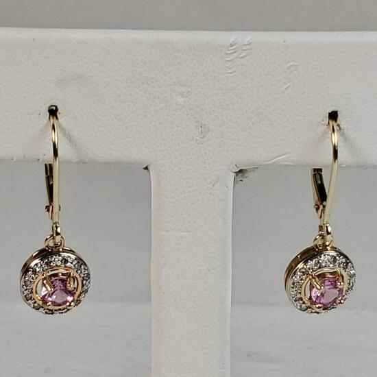 14K Yellow & White Gold Locking Wire Earings With Diamonds & Pink Quartz