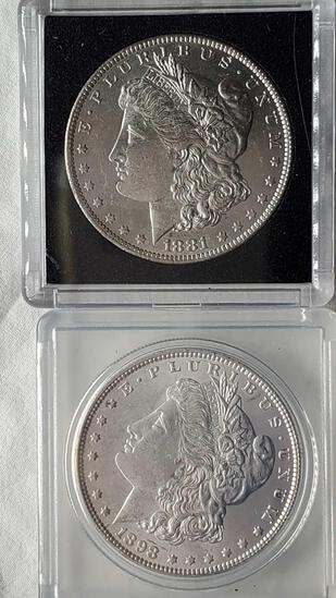2 Higher Grade Uncirculated Morgan Silver Dollars - 1881-O and 1898
