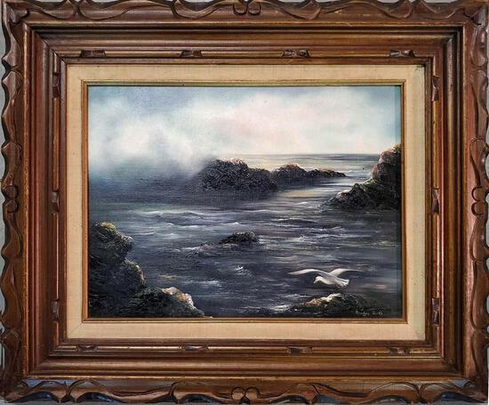 """Merilyn Rocks Active Massacehusetts Oil On Canvas Board """"Rocky Coast"""""""