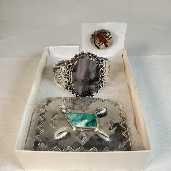 3 Pieces Of Native American Sterling Silver Jewelry