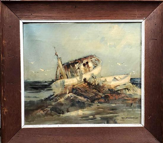 "Tom Nicholas (Born 1934) is active/lives in Massachusetts, Connecticut. ""Ship Wreck"" Oil On Board"