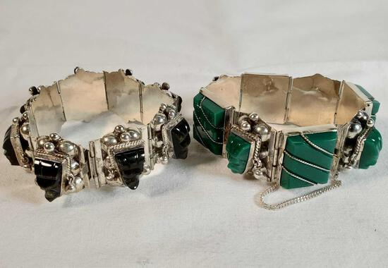 2 Vintage Taxco Mexico 930 & Sterling Silver Black Onyx And Green Stone Bracelets