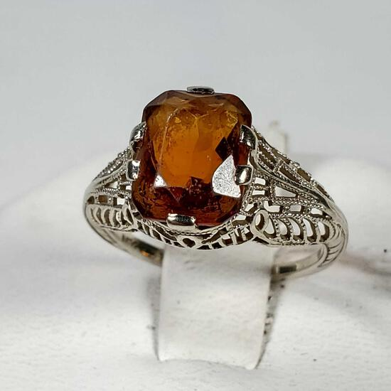 14K White Gold Filagree Ring With Amber Stone