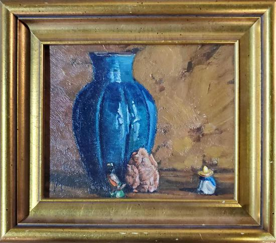 "Harry William Powers (1880 - 1957) was active/lived in Massachusetts. ""Still Life With Blue Vase"""