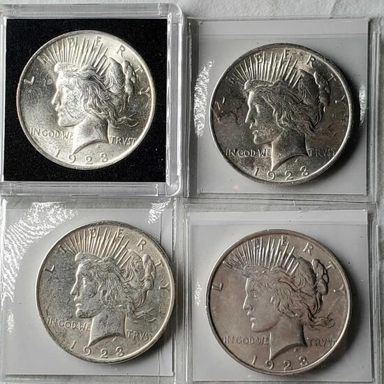 4 Higher Grade UNC 1923 Silver Peace Dollars