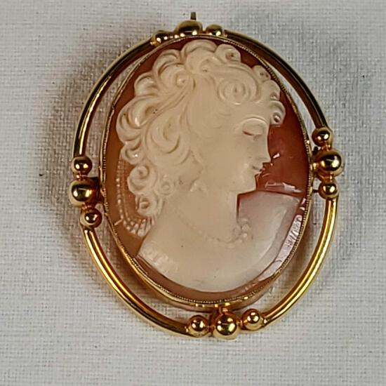 "14K Yellow Gold Mounted Carved Shell Cameo ""Bust Of Lady"" Brooch / Pendent"