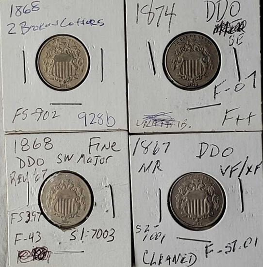 4 Shield Nickel Die Variety Coins
