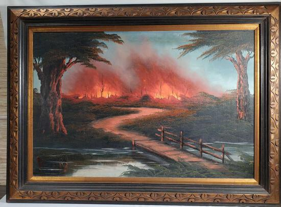 "Oil On Board Lava Flow ""Wild Fire"" Painting"