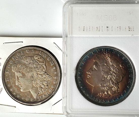 2 Morgan Silver Dollars Slabbed 1885 rainbow toned and 1921-D