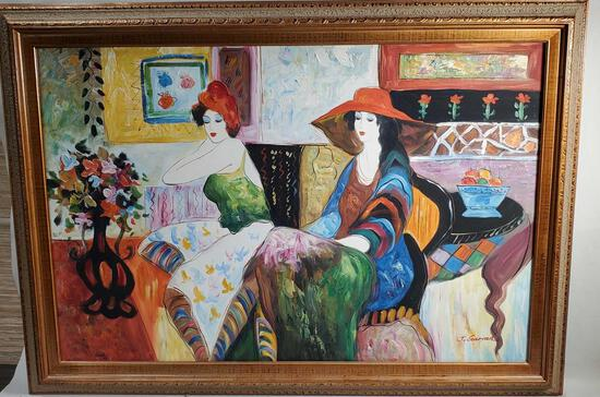 "J. Garrah Original Oil On Canvas ""Ladies In Parlor"""