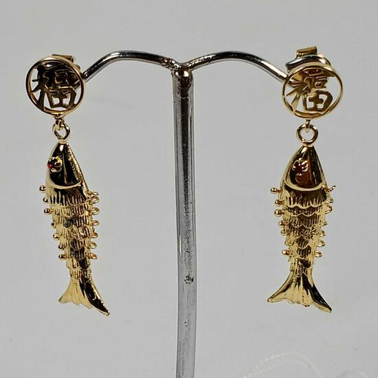 10K Yellow Gold Fish Earrings With Glass Eyes