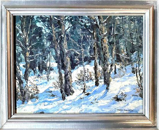 "Marion Gray Traver (1892 - 1964) was active/lived in New York. ""Through Snowy Woods"""