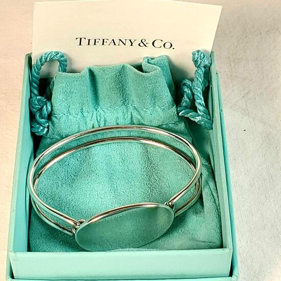 Tiffany & Co. Sterling Silver Oval ID Tag Double Wire Bangle / Bracelet.