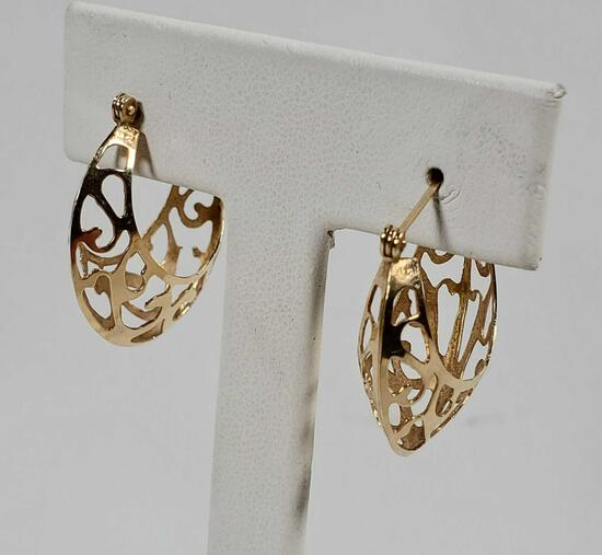 14K Yellow Gold Shrimp Earrings