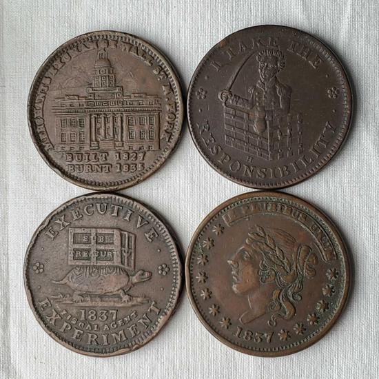 4 US Hard Times Tokens - 1837 Liberty, Illustrious Predecessor, Responsibility & Merchants Exchange
