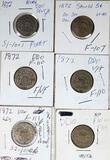 6 1872 DDO Shield Nickel Die Varieties