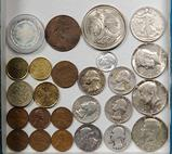 Tray Lot of Mixed Silver and other US and Foreign Coins and Medallions