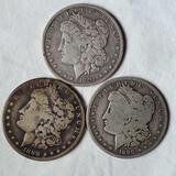 3 New Orleans Mint Morgan Silver Dollars - 1890-O, 1891-O and 1899-O