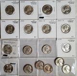 18 BU Silver Washington Quarters from 1944-1964