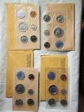 4 US Mint Silver Proof Set Varieties - Frosted 1961,and 3 Accent Hair 1964