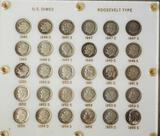 Lucite Display of Roosevelt Silver Dimes Complete 1946-1955