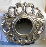 Round Beveled Edge Mirror in Ornate Silver Gilt Mirror