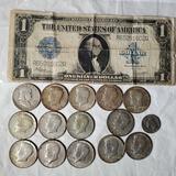 1922 Large Format One Dollar Bank Note, 14 Silver Half Dollars and Buffalo Nickel