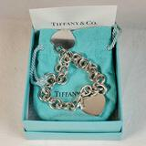 Gently Used Tiffany & Co. Sterling Silver Heart Tag Charm Bracelet
