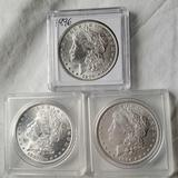 3 Morgan Silver Dollars - NM/MS/UNC - 1882, 1884 and 1896