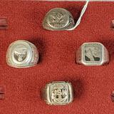 Lot Of 4 WWII Era Sterling Silver Military And Masonic Rings