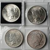 4 Higher Grade UNC 1923 Silver Peace Dollars