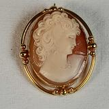 14K Yellow Gold Mounted Carved Shell Cameo