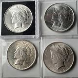 4 Higher Grade UNC 1922 Silver Peace Dollars